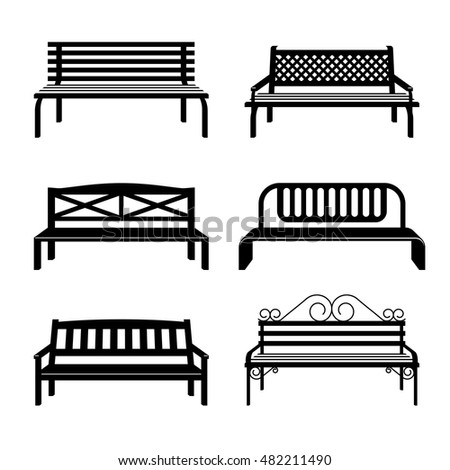 Vector Benches Benches Black Silhouettes Bench Stock ... Park Bench Clipart Black And White