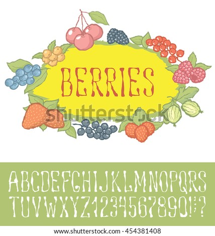 Vector berries pattern with hand made font. With inscription Berries - stock vector