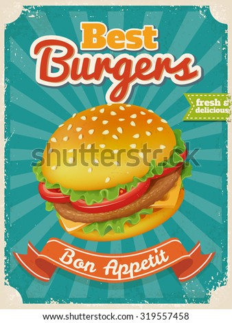 Vector Best Burgers poster in vintage style with typography elements. High detailed vector burger illustration. - stock vector