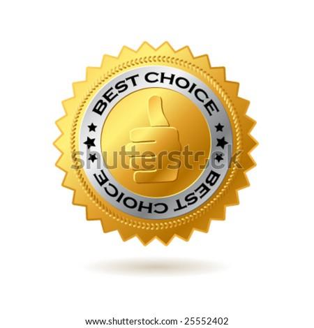 Vector best choice label golden label. - stock vector