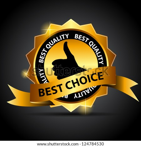 Vector best choice  label with red ribbon. - stock vector