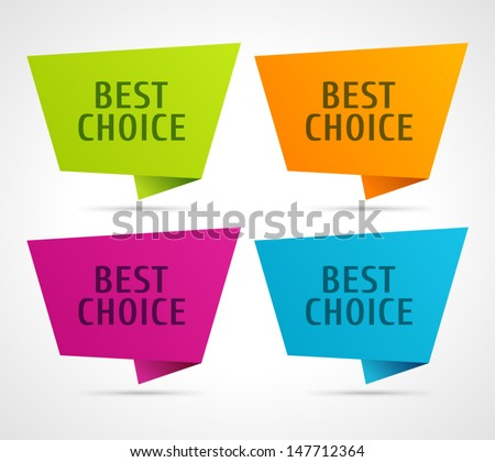 Vector best choice message on speech bubbles labels set.  - stock vector