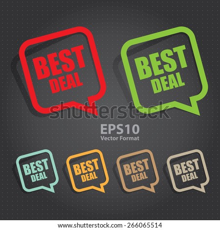 vector : best deal speech bubble, speech balloon, sticker, sign, icon, label  - stock vector