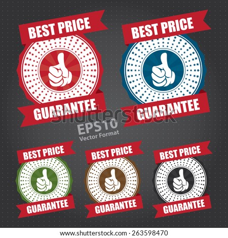 vector : best price guarantee ribbon, sticker, sign, stamp, icon, label - stock vector