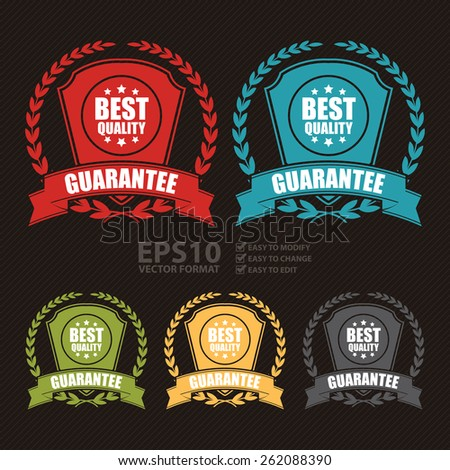 Vector : Best Quality Guarantee Wheat Laurel Wreath, Ribbon, Label, Sticker or Icon  - stock vector