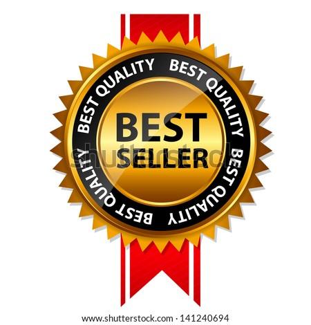 Vector best seller gold sign, label template - stock vector