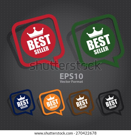 vector : best seller speech bubble, speech balloon, sticker, sign, icon, label - stock vector