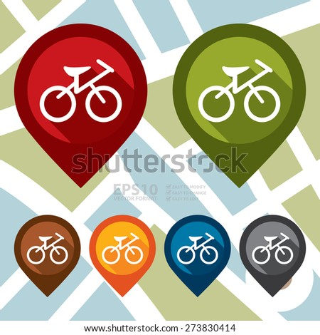Vector : Bicycle, Bicycle Shop or Bicycle Parking Map Pointer Icon  - stock vector