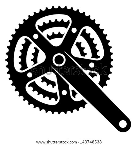vector bicycle cogwheel sprocket crankset symbol  - stock vector