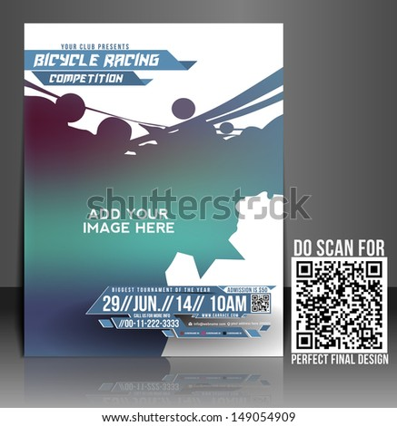 vector bicycle racing flyer brochure magazine cover poster template