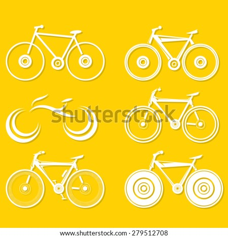 vector bicycle silhouette collection, vector bike icon or logo set - stock vector