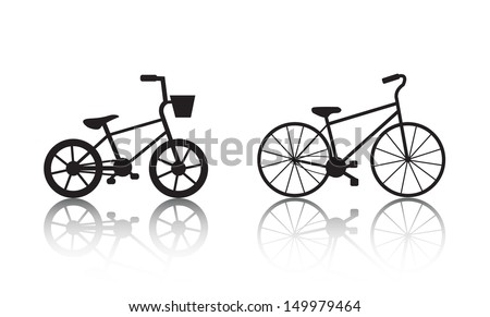 Vector bicycles silhouettes set. Kid's bicycle and adult bicycle icons, logos - stock vector
