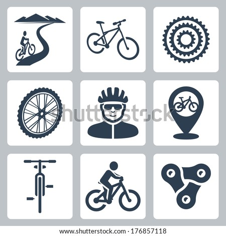 Vector bicycling, cycling icons set - stock vector