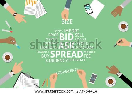 vector bid ask spread concept,template - stock vector