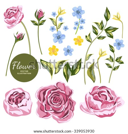 Vector Big Collection Flowers. Blue and yellow wildflowers and pink roses flowers set. Individual objects Flowers for your design wedding invitations, save the date cards, fabric, wallpaper, scrapbook - stock vector