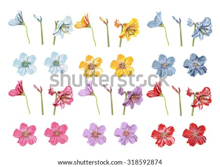 Vector Big Collection Flowers. Violet, blue, red, pink, yellow flowers set. Individual objects Flowers for your design wedding invitations, save the date cards, fabric, wallpaper, scrapbook and etc - stock vector