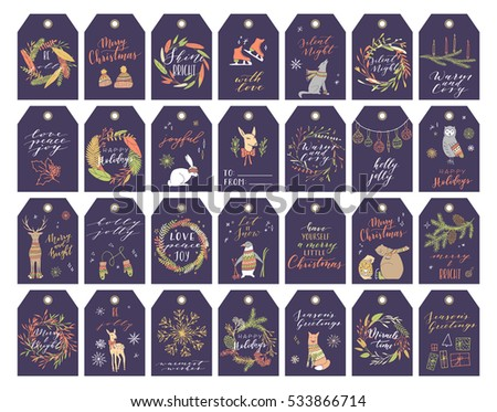 Vector big collection of hand written christmas phrases and quotes. Elegant calligraphic lettering tags, cards. Cute winter graphic elements.