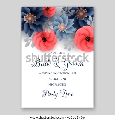 Vector big paper flower origami rose stock vector 706081756 vector big paper flower origami rose anemone peony wedding invitation floral card template mightylinksfo