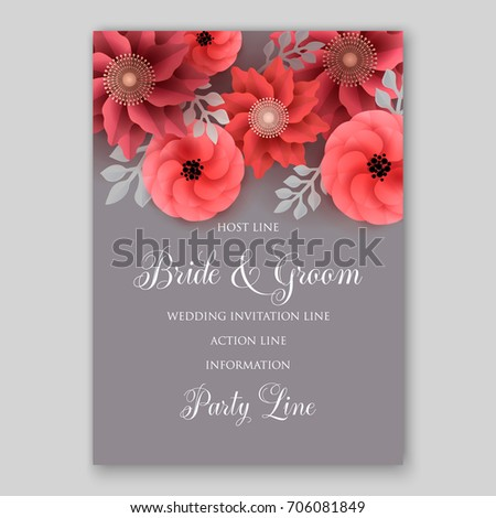 Vector big paper flower origami rose stock vector 706081849 vector big paper flower origami rose anemone peony wedding invitation floral card template mightylinksfo
