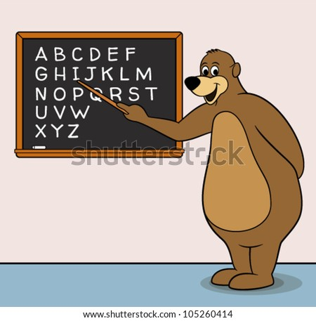 Vector big wise bear teacher cartoon character, inside a school classroom teaching the English alphabet, pointing at a blackboard with a stick. No gradients.