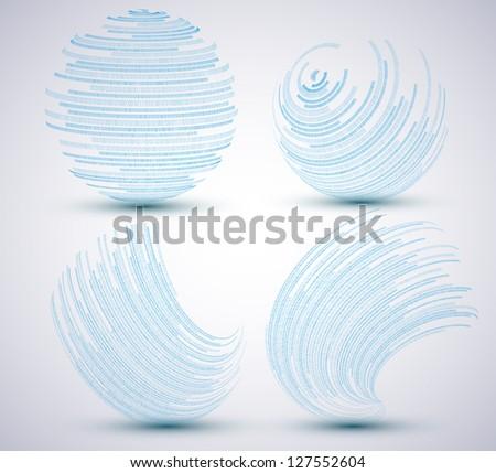 Vector binary sphere set on blue background. Eps10 illustration - stock vector