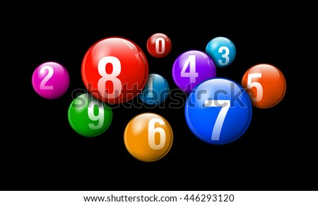 Vector Bingo / Lottery Number Balls Colorful Set on Black Background - stock vector