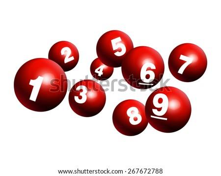Vector Bingo / Lottery Number Balls One to Nine - stock vector