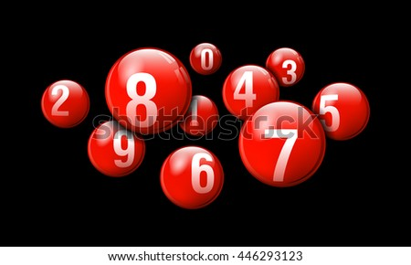 Vector Bingo / Lottery Number Balls Red Set on Black Background
