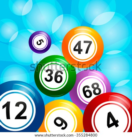 Vector Bingo / Lottery Number crumbles balls set on a blue background - stock vector