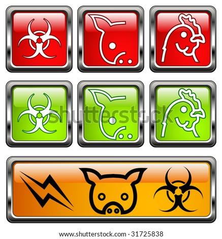 Vector bio-hazard warning symbol on yellow caution sign, illustration - stock vector
