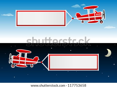 vector biplane with banners in the sky - stock vector