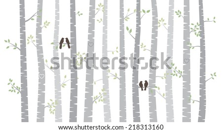 Vector Birch or Aspen Trees with Autumn Leaves and Love Birds - stock vector