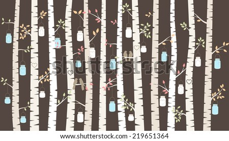 Vector Birch or Aspen Trees with Hanging Mason Jar Lights and Love Birds  - stock vector
