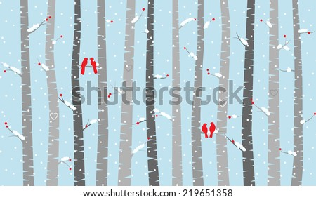 Vector Birch or Aspen Trees with Snow and Love Birds  - stock vector