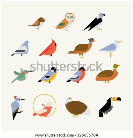 Vector bird icon collection. Different birds species like: owl, toucan, hummingbird, bullfinch and more vector illustration birds - stock vector