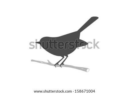 Vector Bird Icon Symbol - stock vector