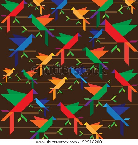 Vector bird pattern - Brazil - stock vector