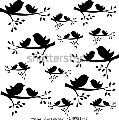 vector bird silhouettes sitting on the branch - stock vector