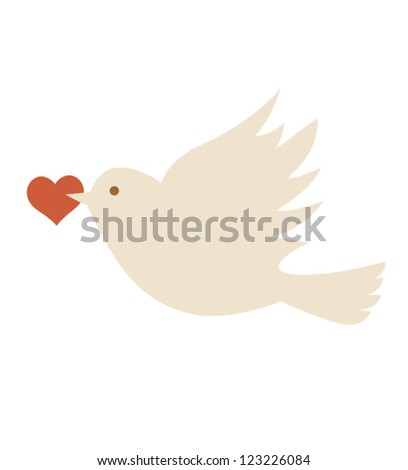 Vector bird. Valentine card - stock vector