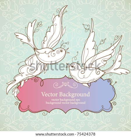 Vector birds and frame for your text - stock vector