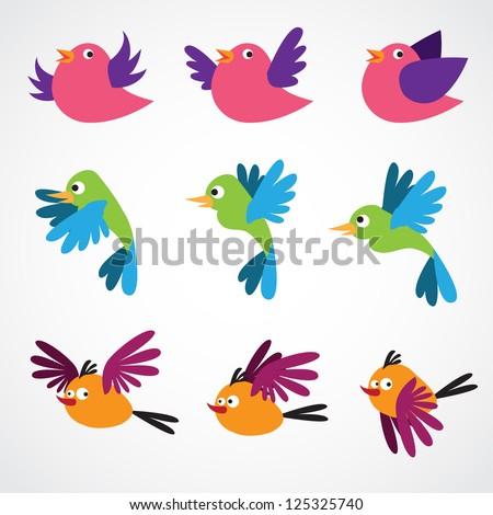 Vector birds collection - stock vector