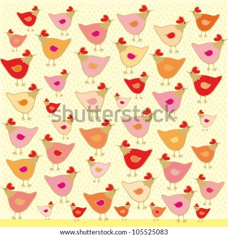 Vector  birds, hen and chicken on yellow background