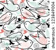 Vector birds silhouettes seamless pattern background with hand drawn elements. - stock vector
