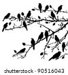vector birds silhouettes sitting on the branches - stock vector