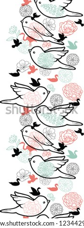 Vector birds silhouettes vertical seamless pattern background ornament with hand drawn elements. - stock vector