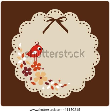 vector birds xmas card - stock vector