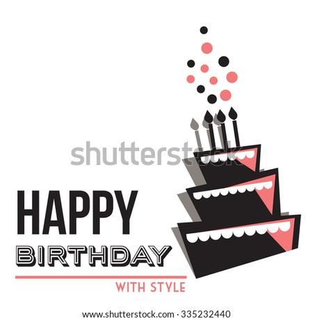 Vector birthday cake card - stock vector