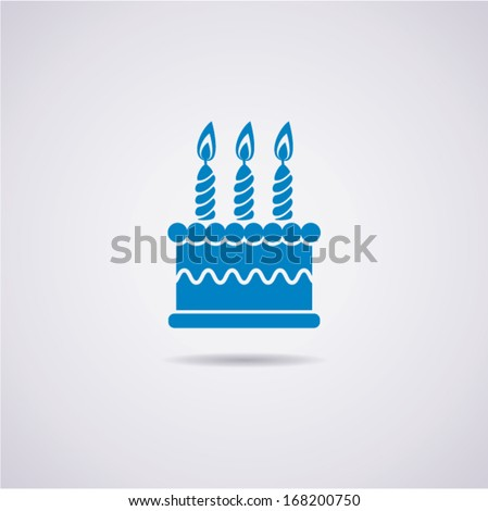 vector birthday cake icon - stock vector