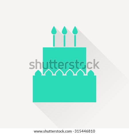 Vector birthday cake icon. Food icon. Eps10