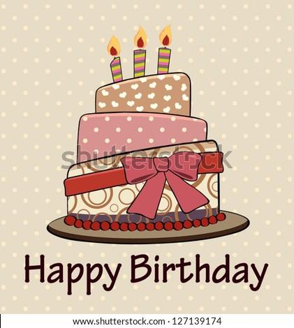 Vector  birthday cake vintage style. - stock vector